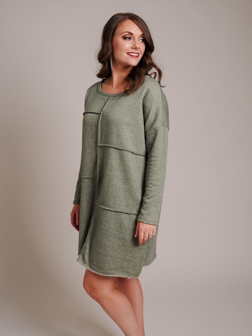 olive green frayed hem terrycloth tunic