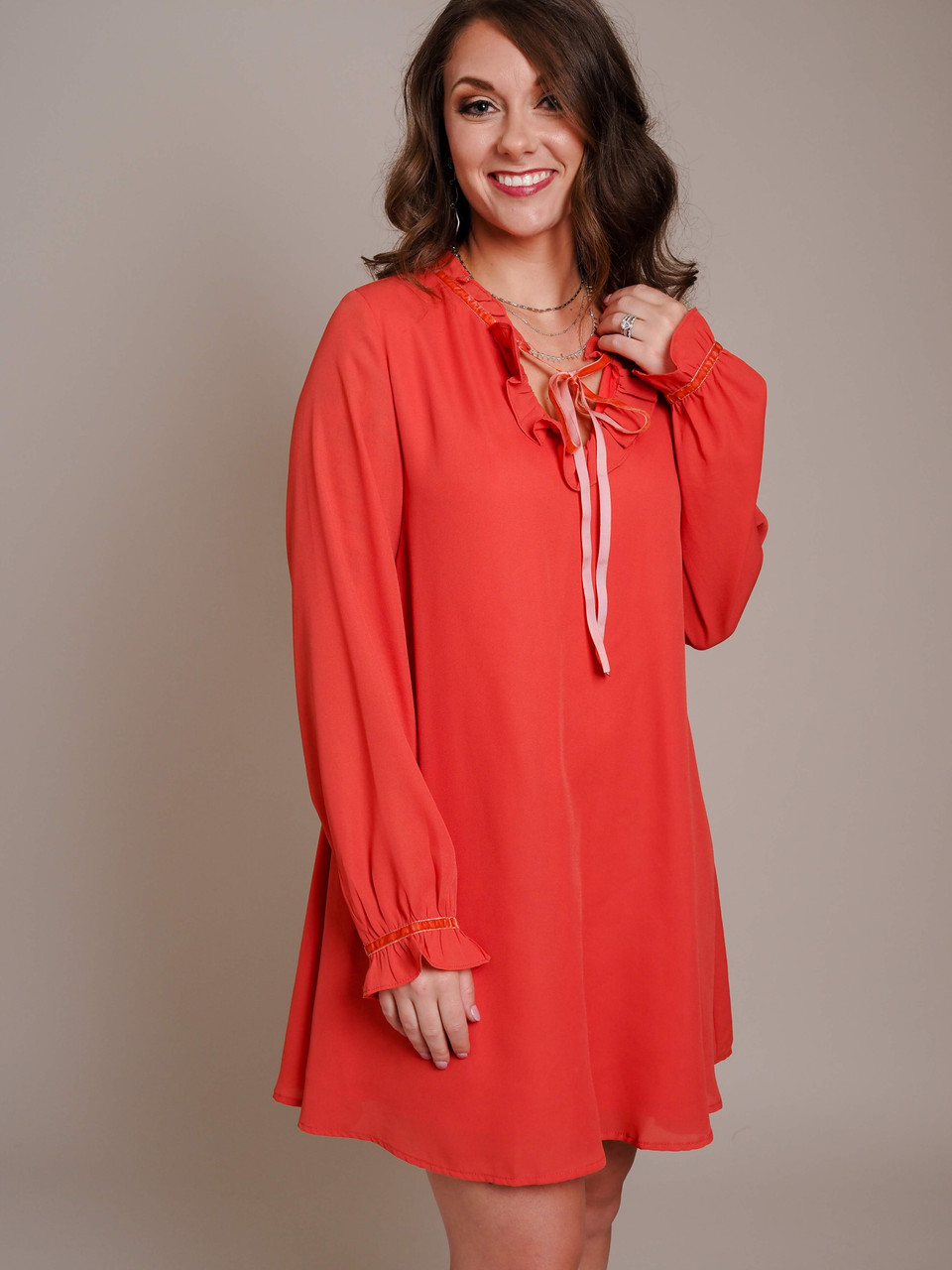 coral ruffle tie neck dress