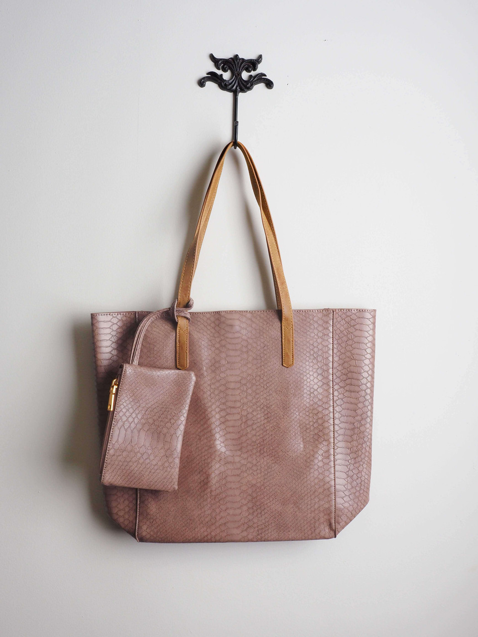 Faux Snakeskin Large Tote in Mauve