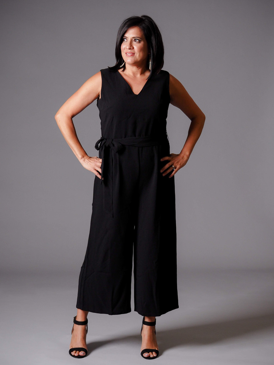 black strapless v-neck jumpsuit