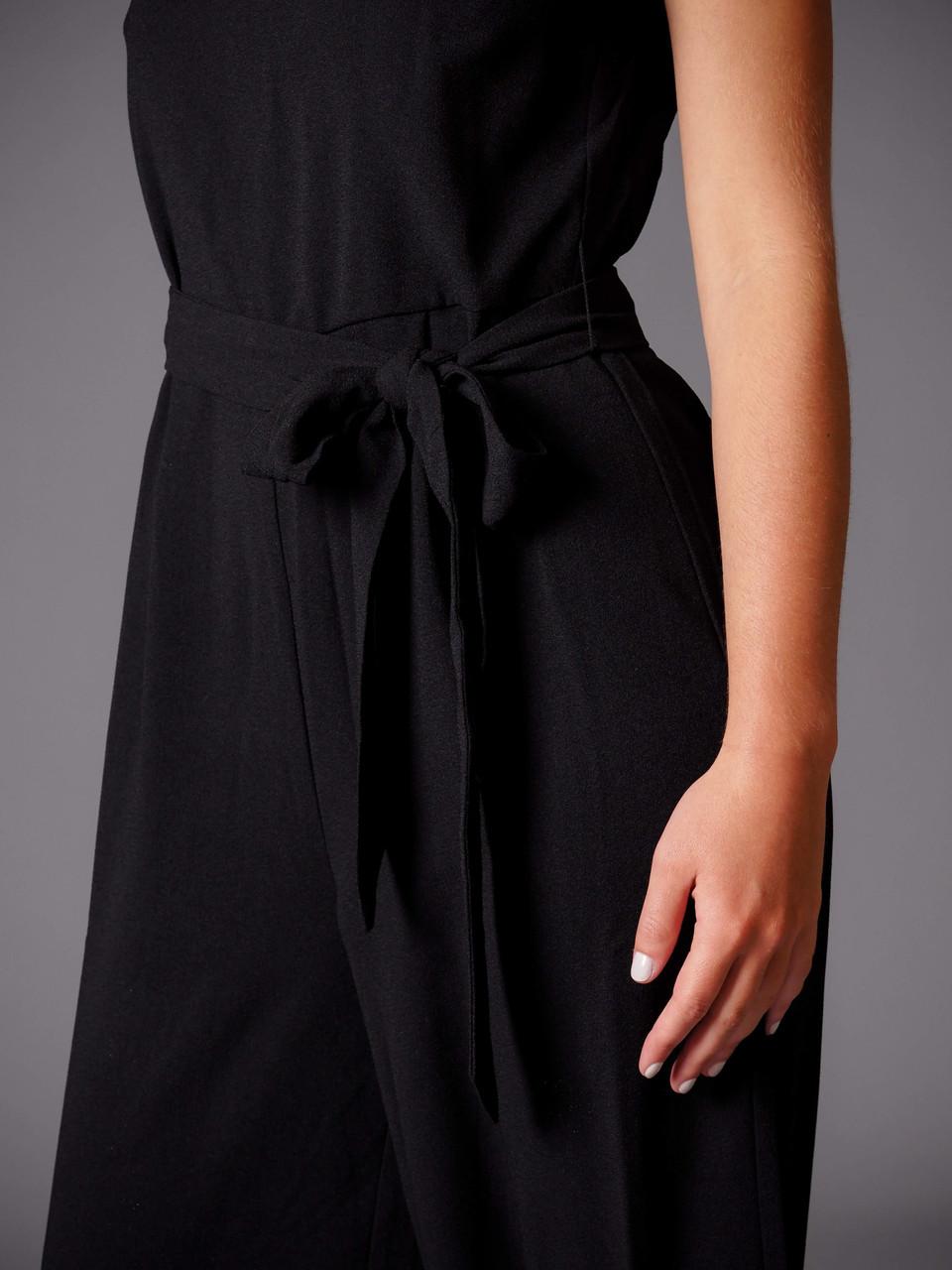 black strapless v-neck jumpsuit
