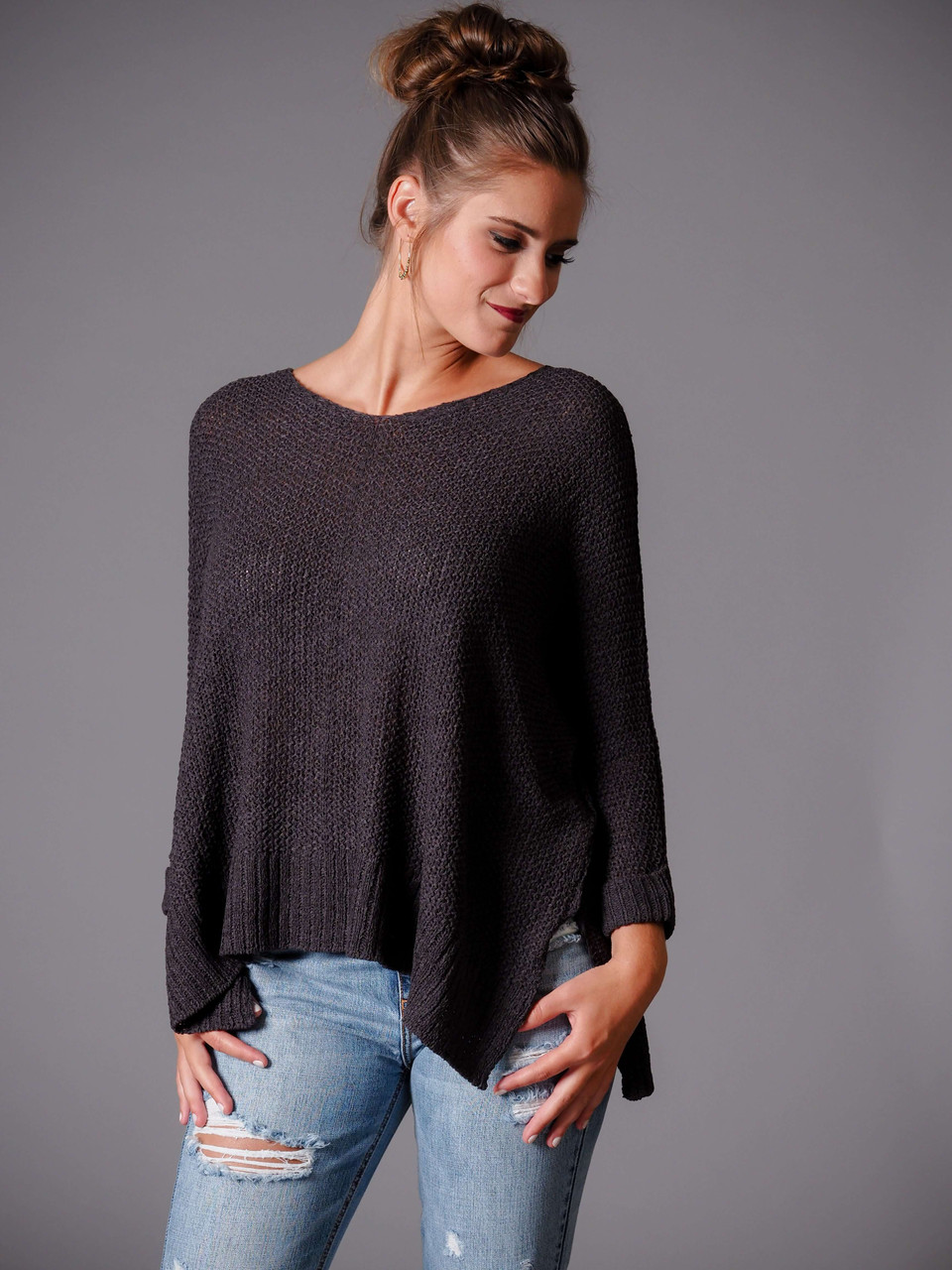 charcoal gray pullover sweater