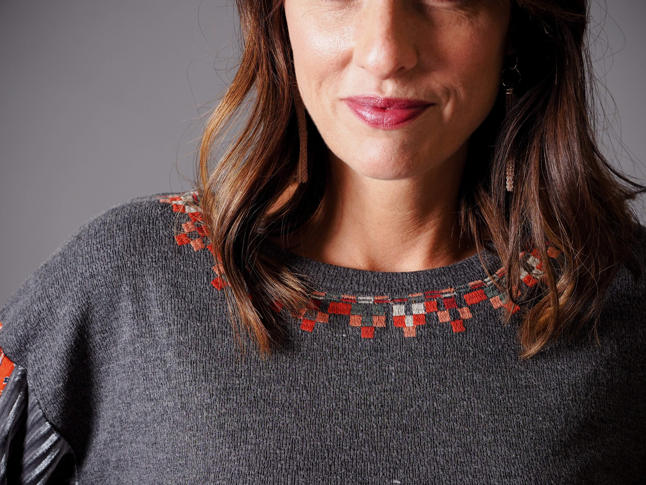 charcoal and red print embroidered top