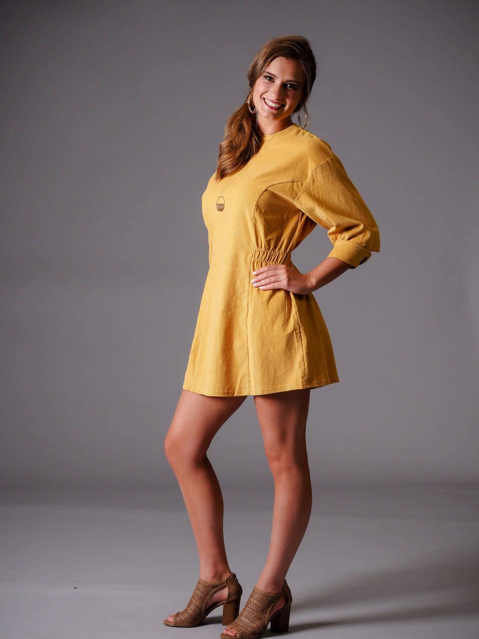 mustard yellow corduroy shift dress