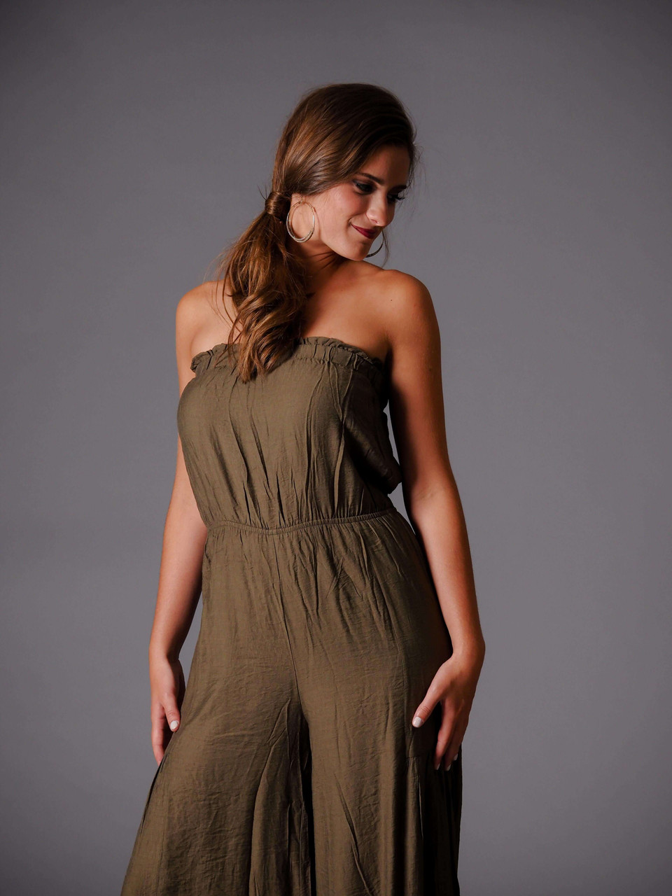 olive green strapless flounce jumpsuit
