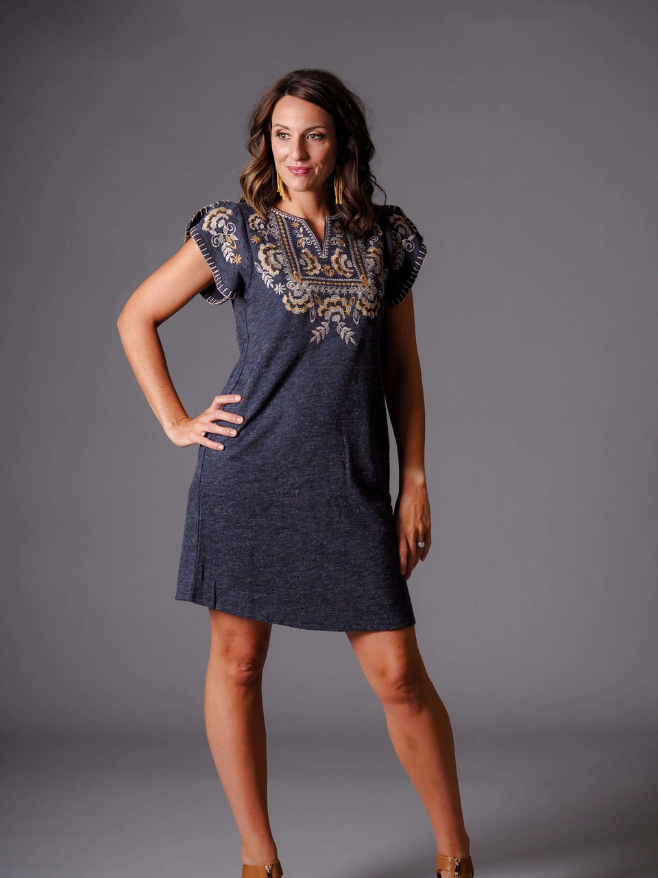 gray embroidered knit dress flutter sleeve