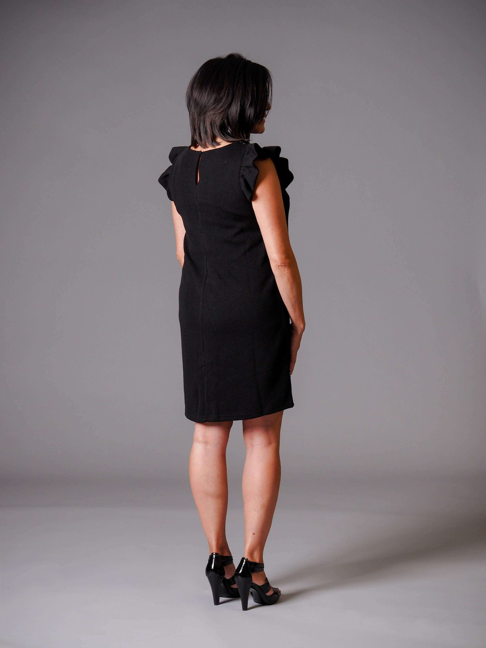 black ribbed embroidered knit dress