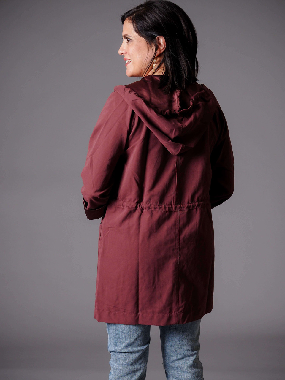 purple maroon burgundy hooded utility jacket