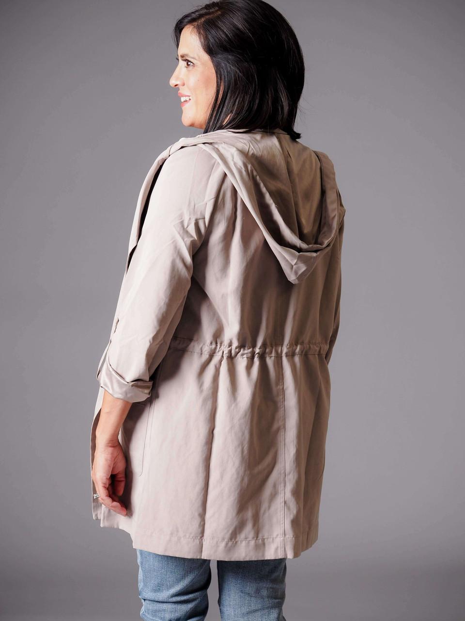 light gray beige hooded utility jacket