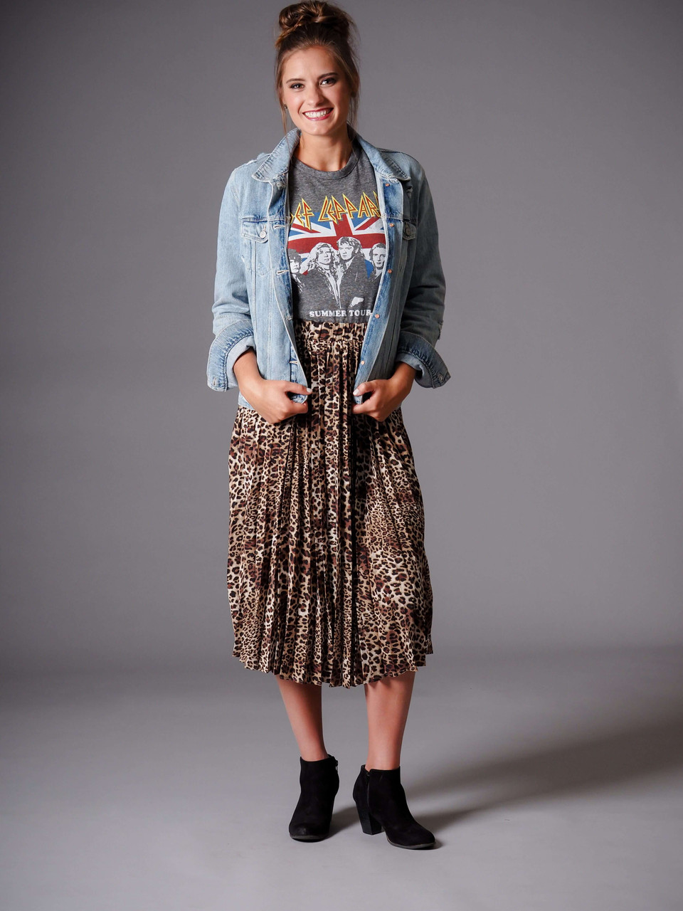 leopard animal print midi skirt