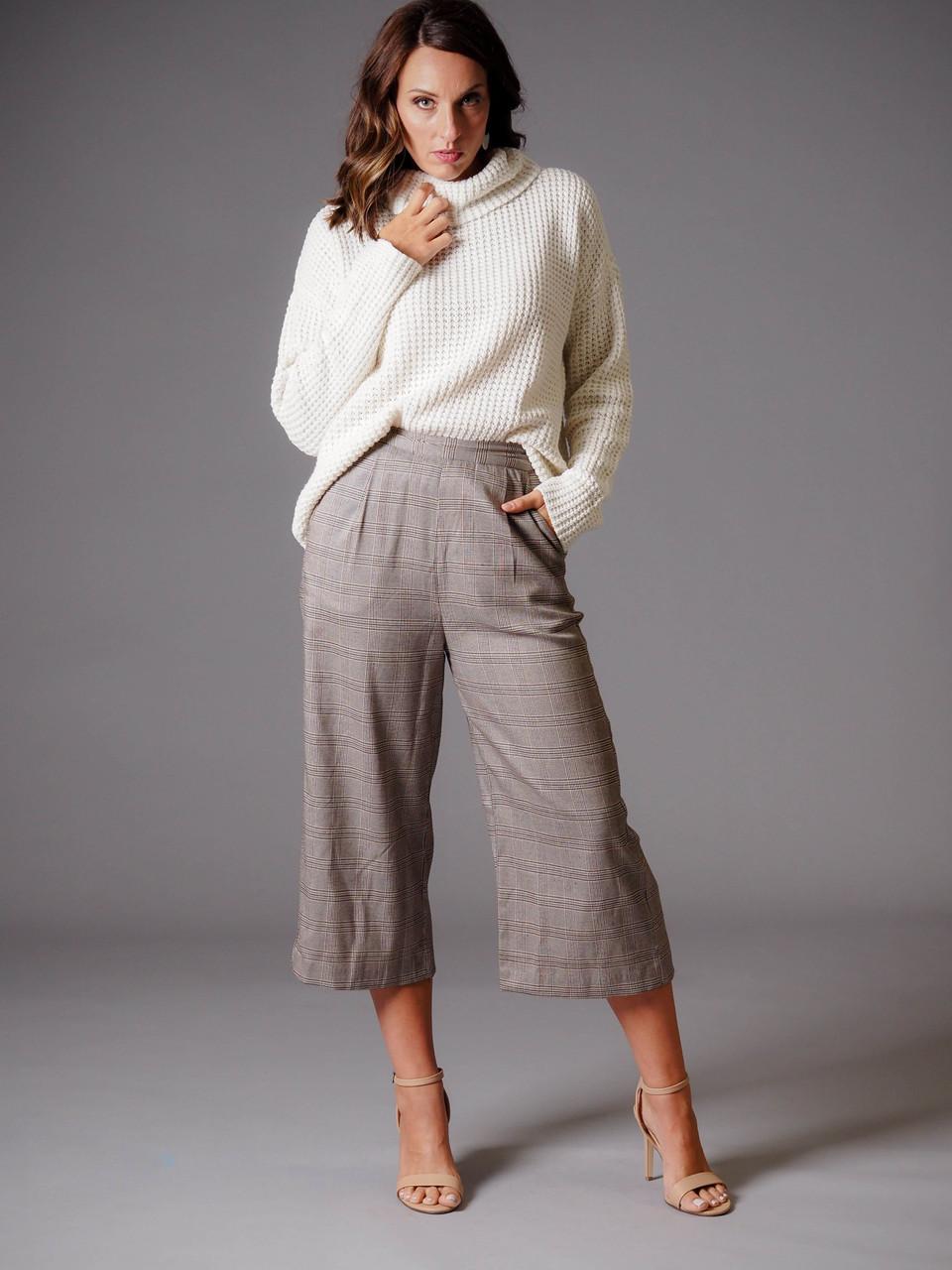 gray brown plaid print crop pant
