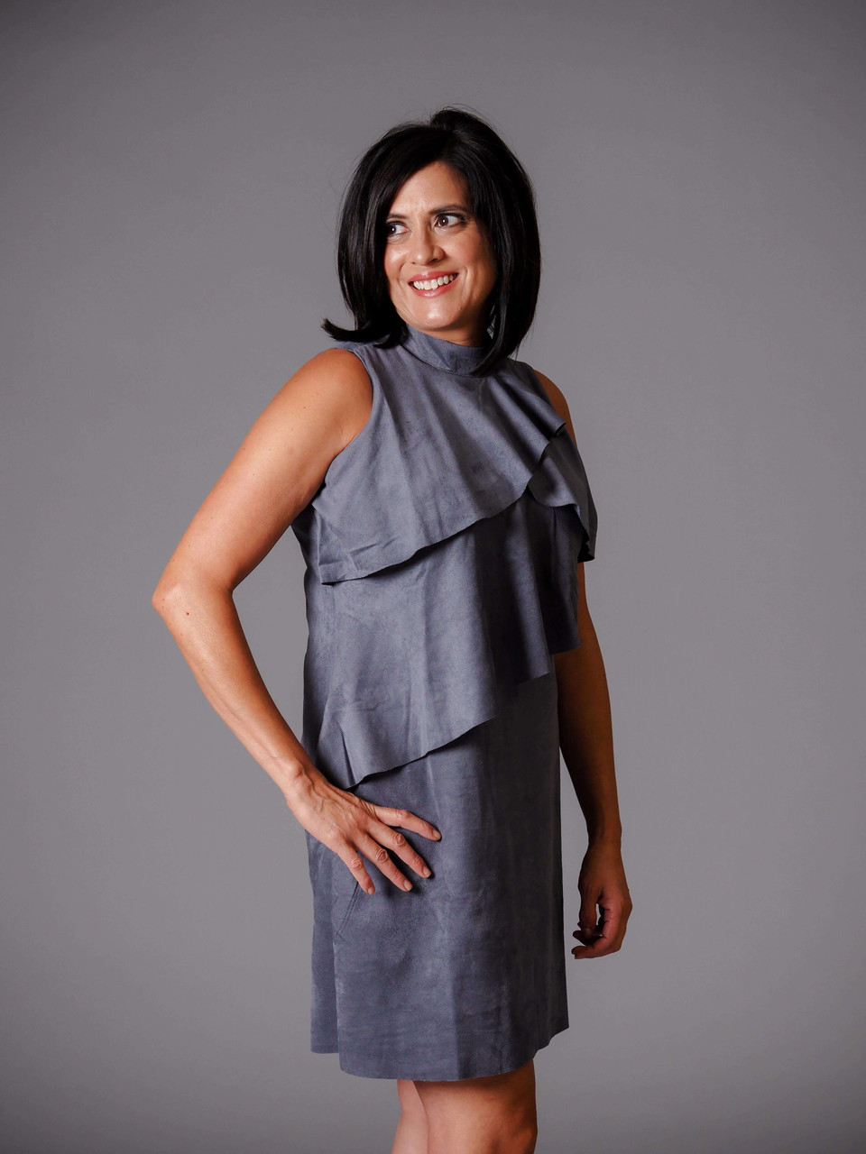 gray suede sleeveless dress