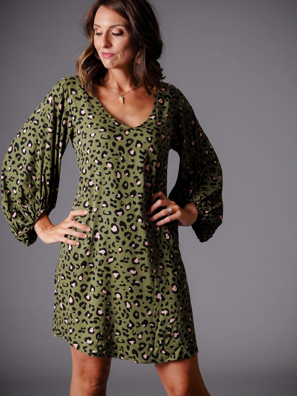 pink and olive green leopard animal print dress