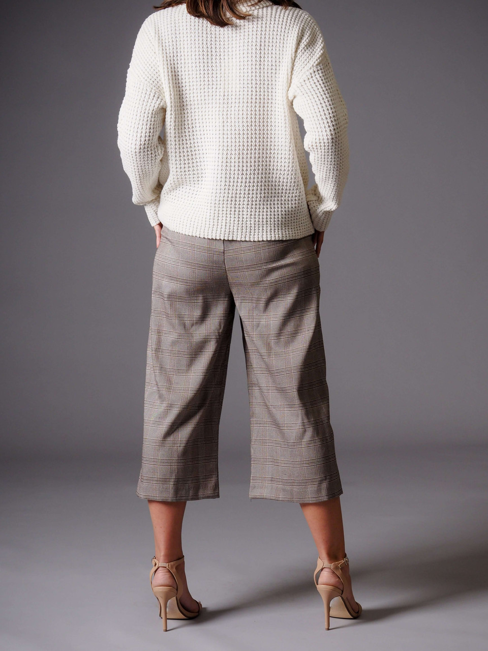 cream waffle knit turtleneck sweater