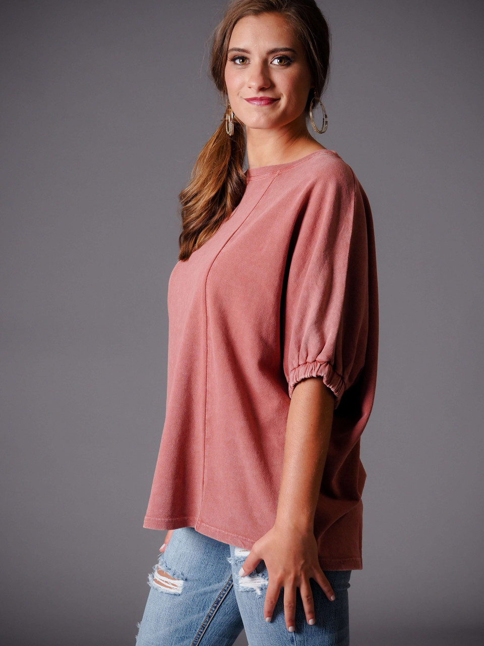 blush pink raspberry short sleeve knit top