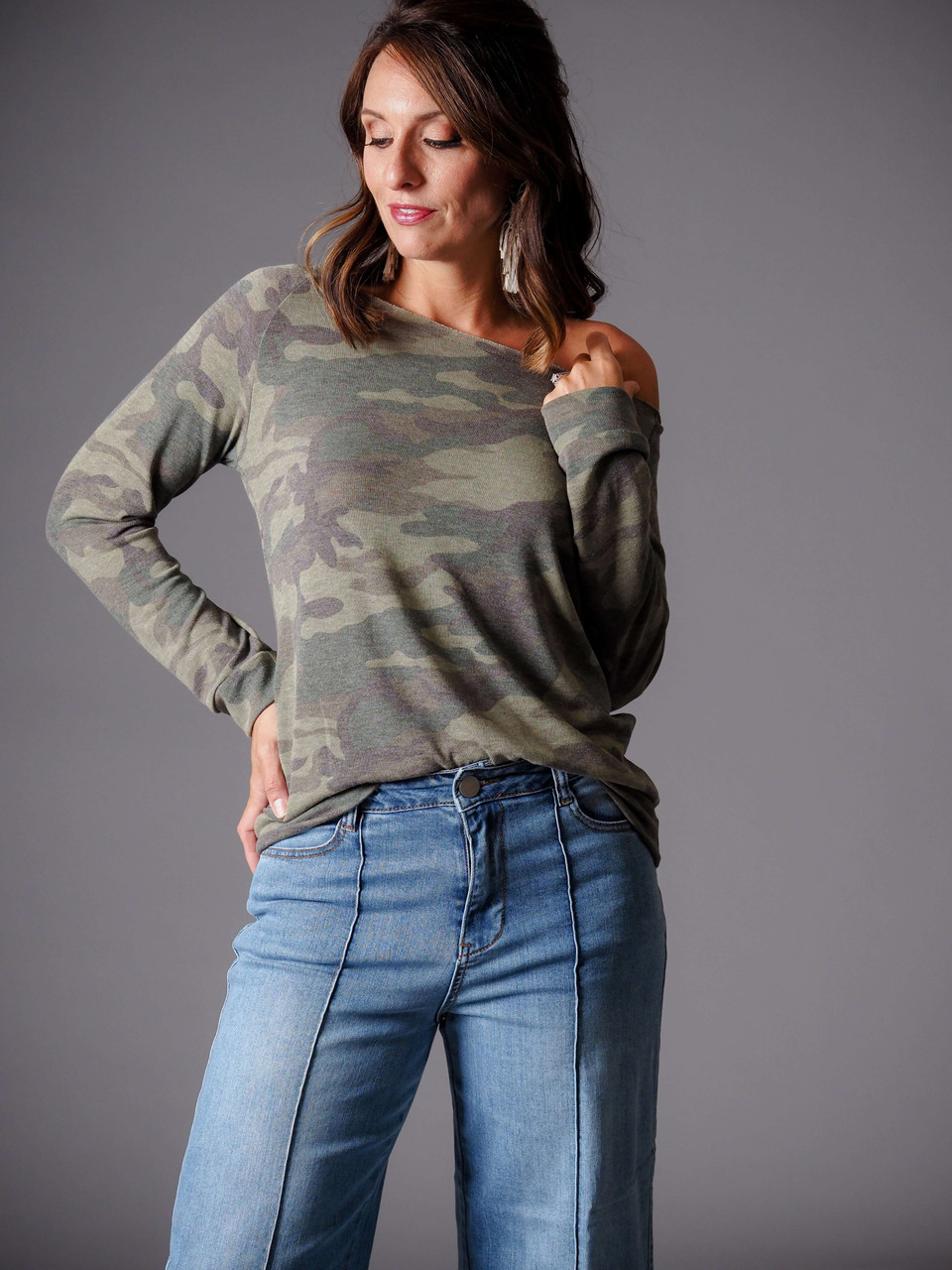 olive green camo top