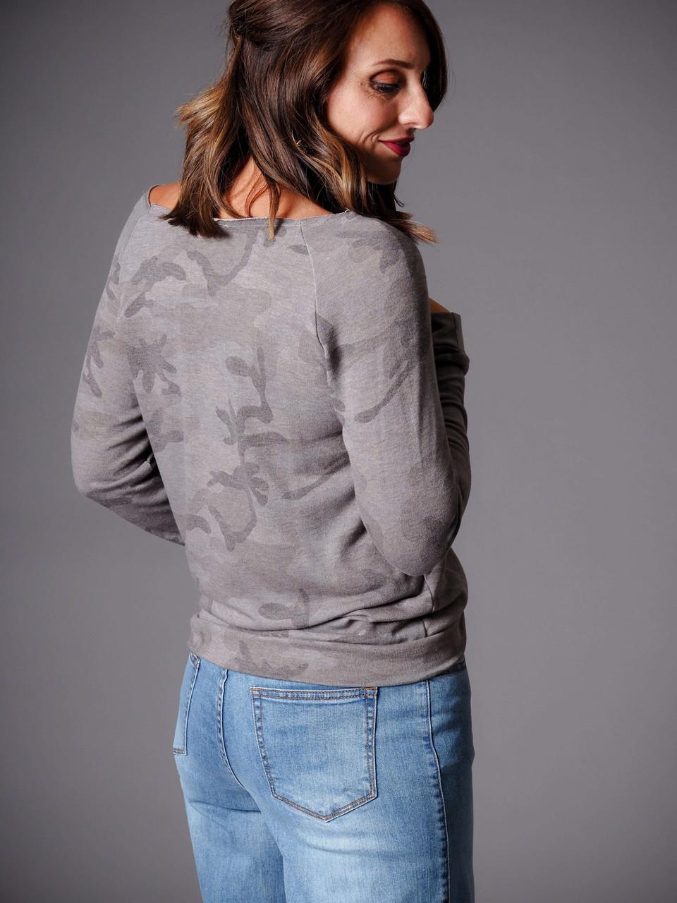 charcoal gray camo top