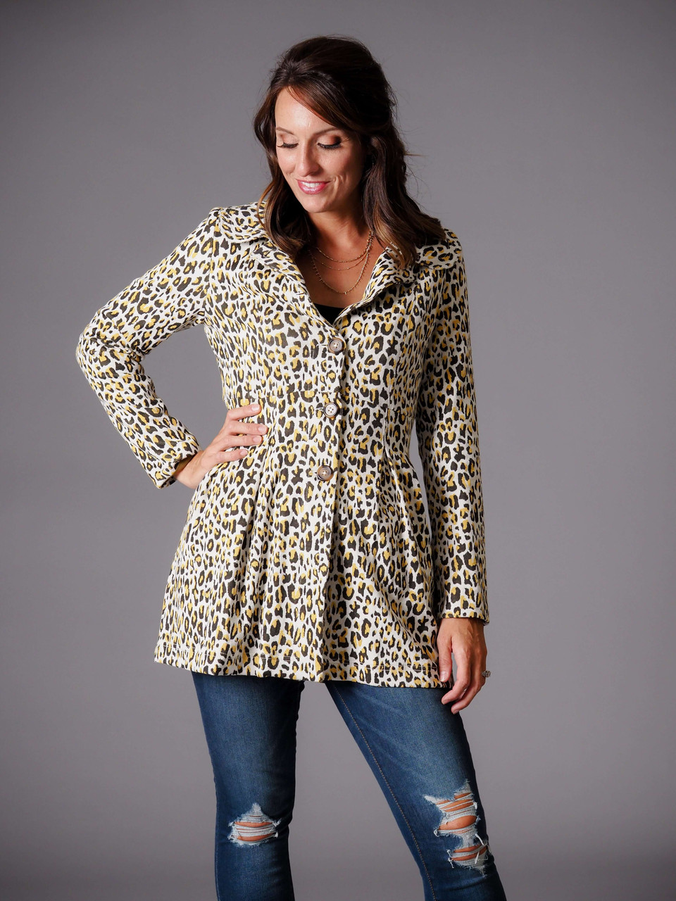 olive green and yellow leopard print jacket