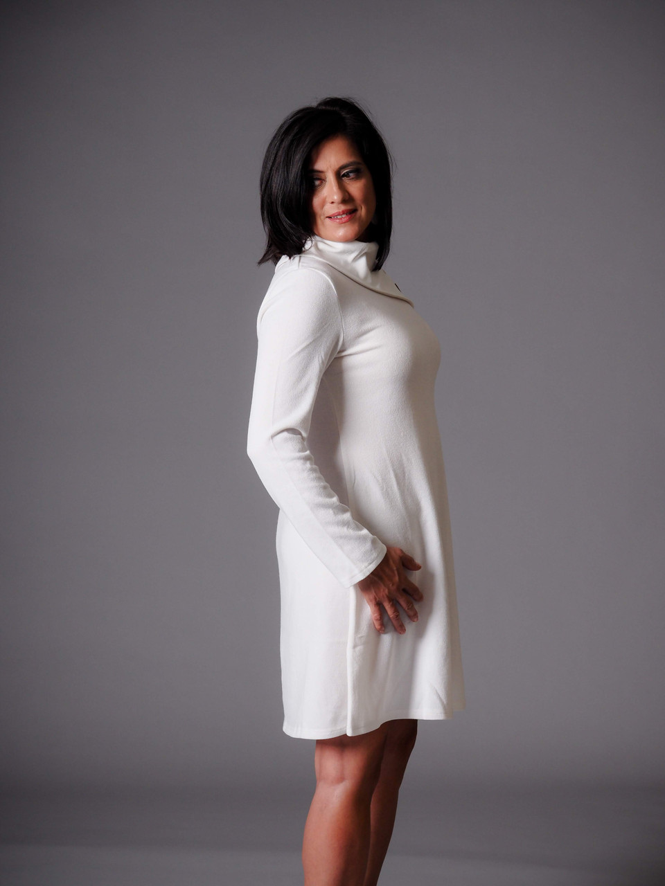 white cowl neck knit dress