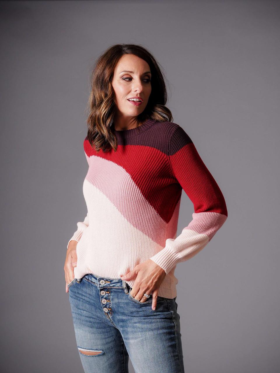 burgundy blush red multi color retro sweater