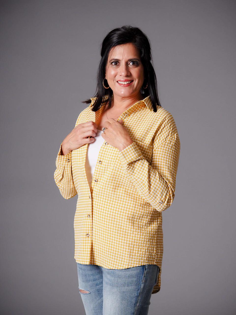 mustard yellow gingham button down shirt