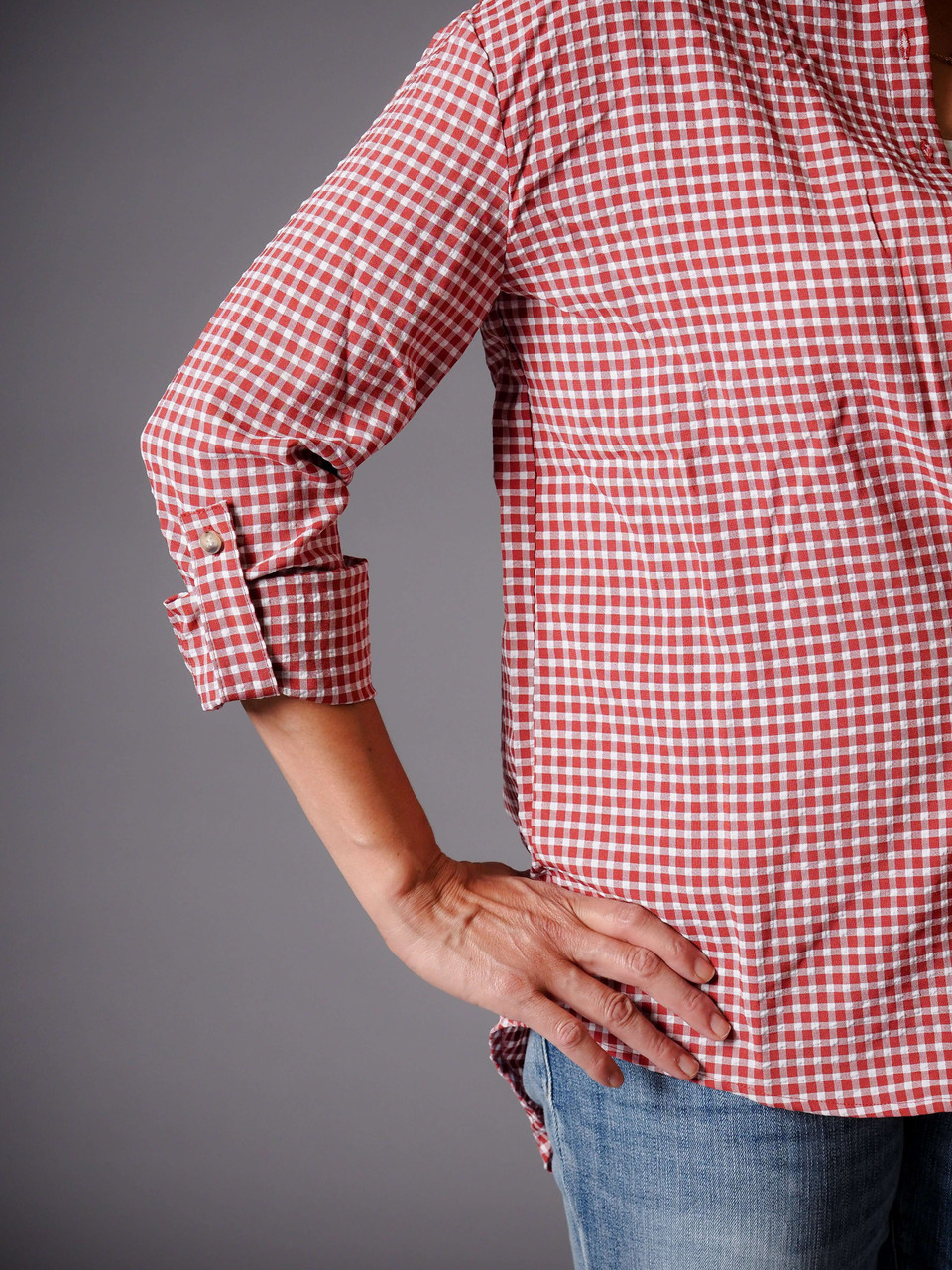 brick red gingham button down shirt