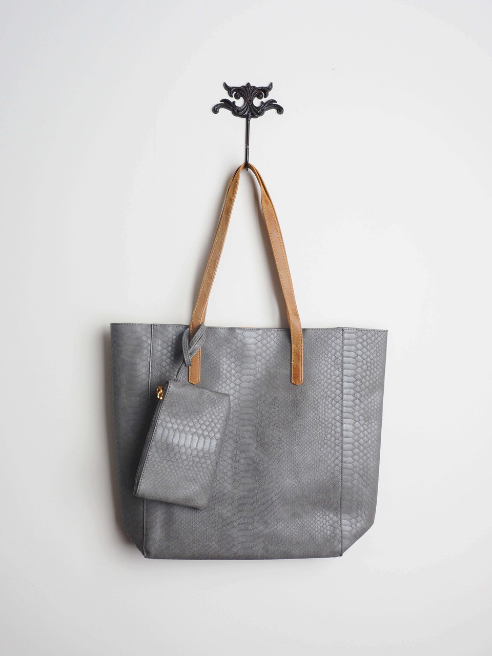 Faux Snakeskin Large Tote in Gray