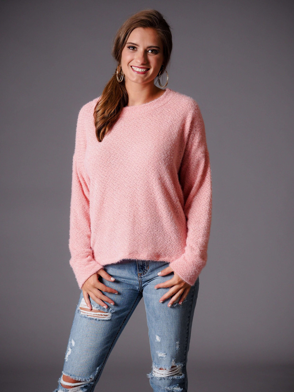 pink lightweight round neck sweater