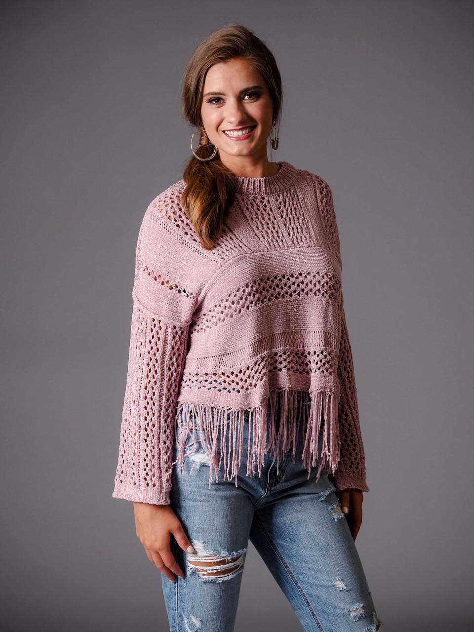 rose mauve fringe hem knit sweater