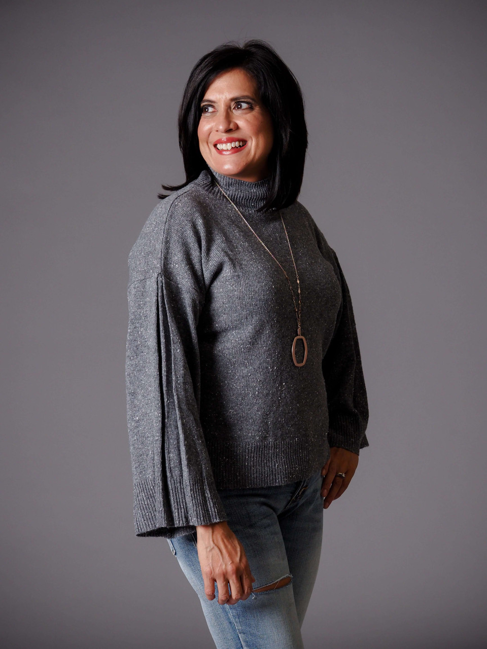 gray mock turtleneck knit confetti sweater