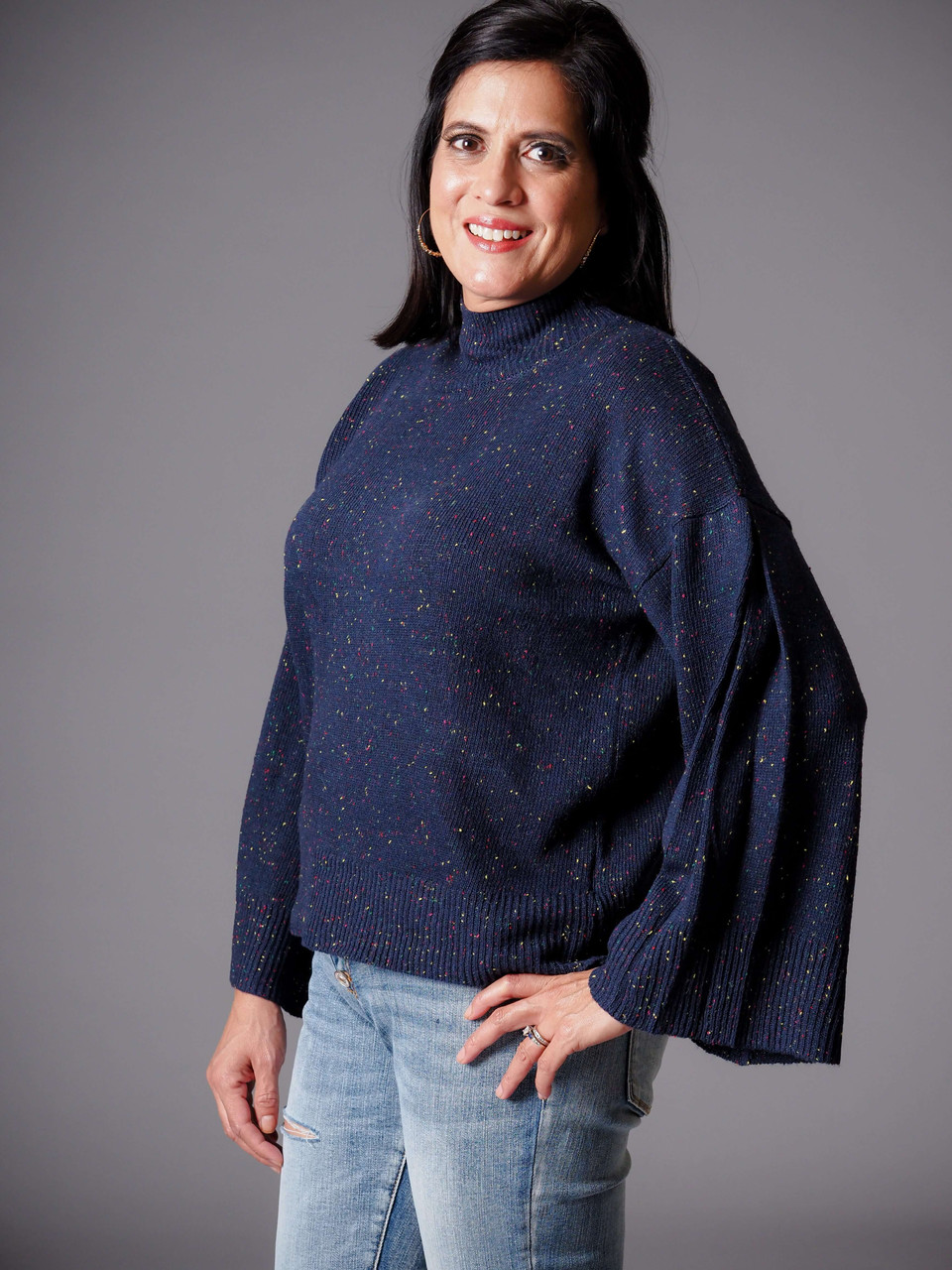 navy blue mock turtleneck confetti sweater
