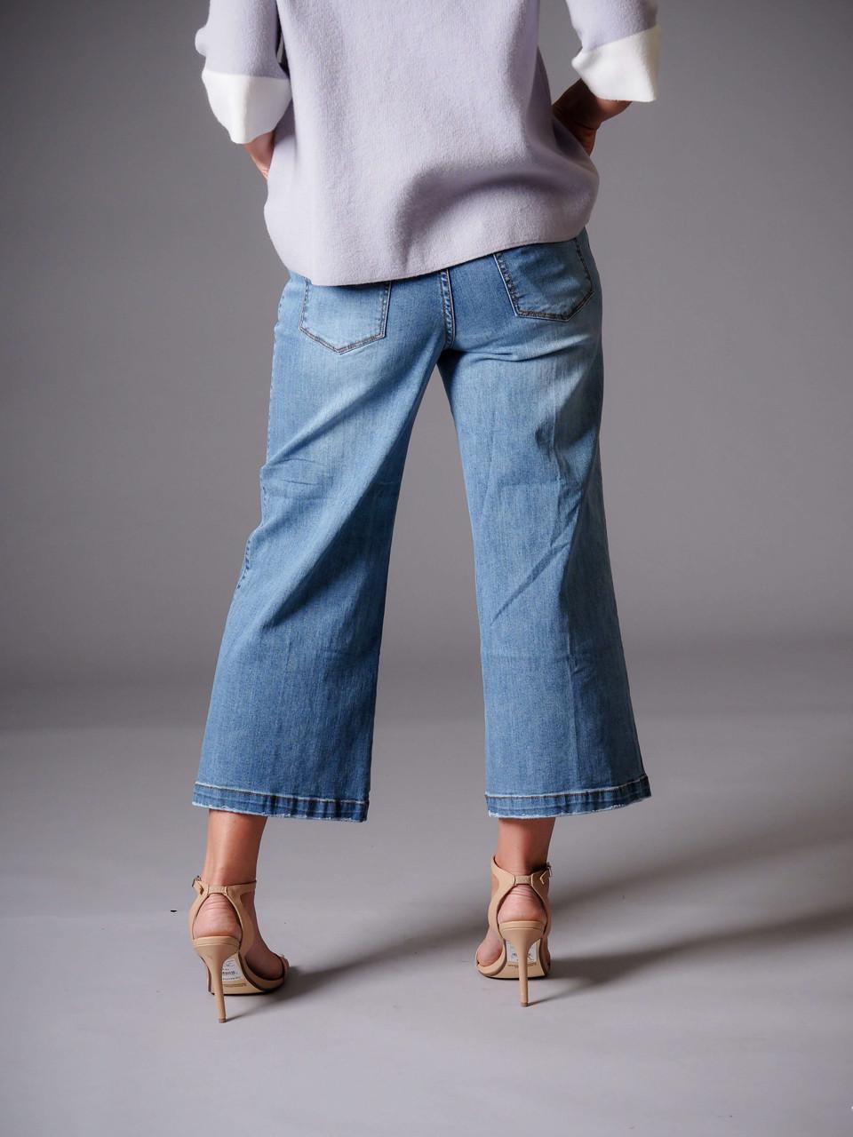 blue denim wide leg gaucho jean