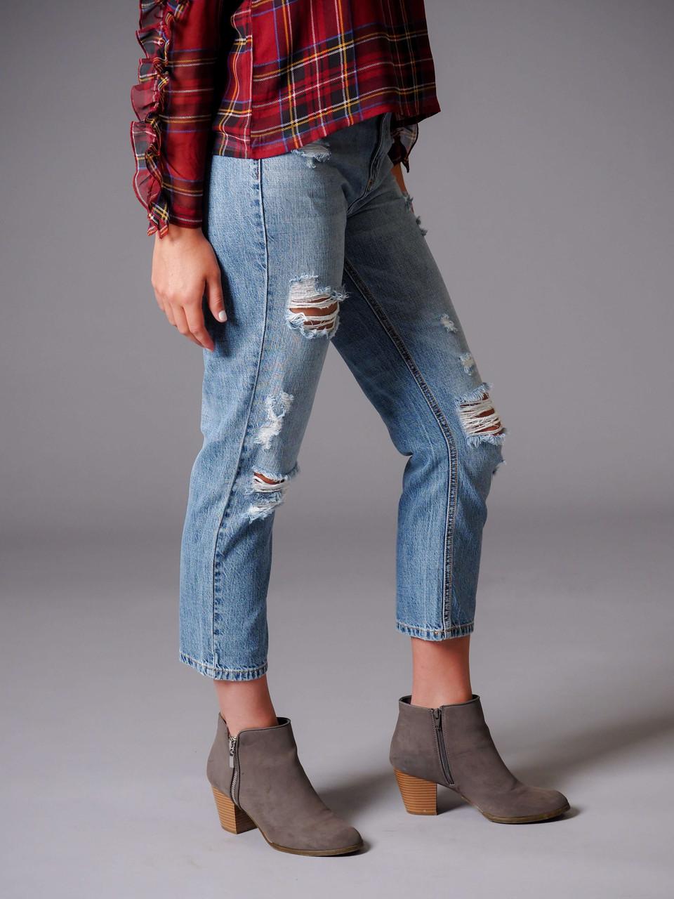 blue denim high rise distressed straight jeans