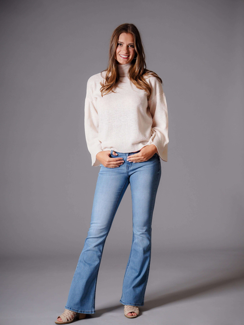 blue denim mid rise flare jeans