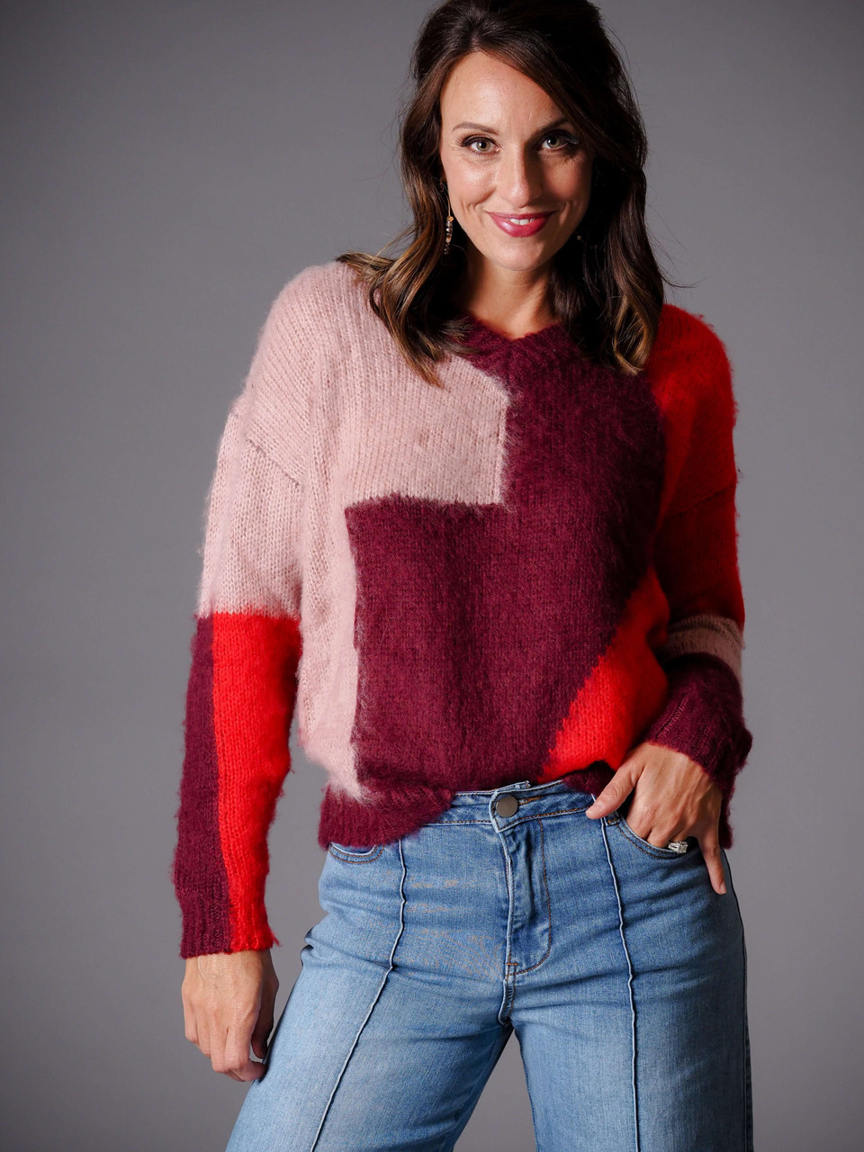 rose burgundy and red color block sweater
