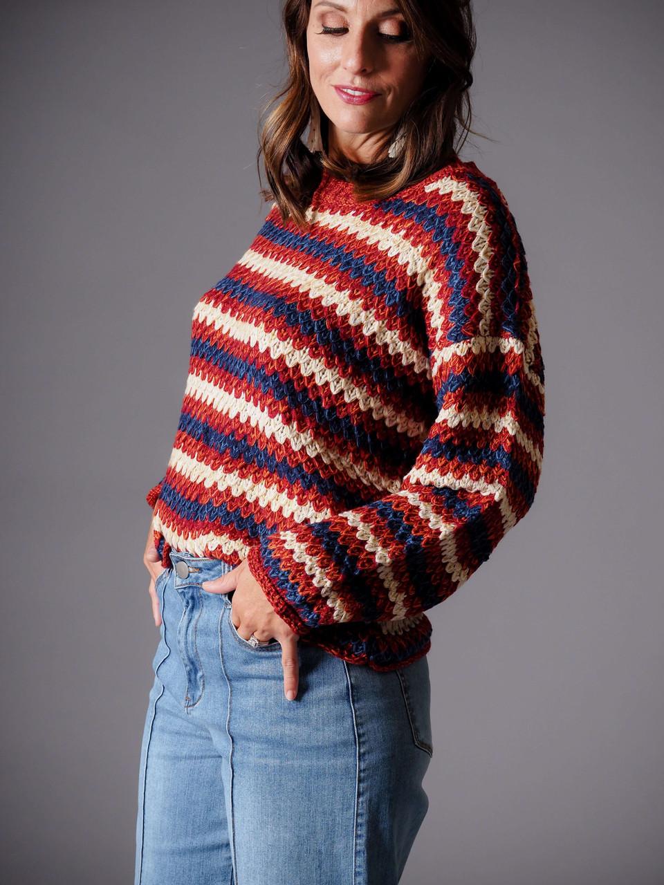 rust red burgundy blue crew neck striped sweater