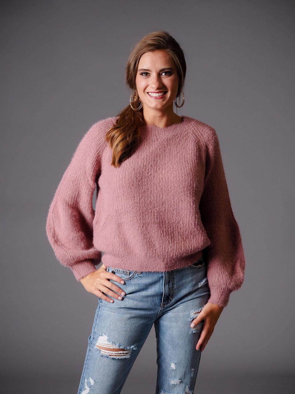 rose blush pink scalloped sweater