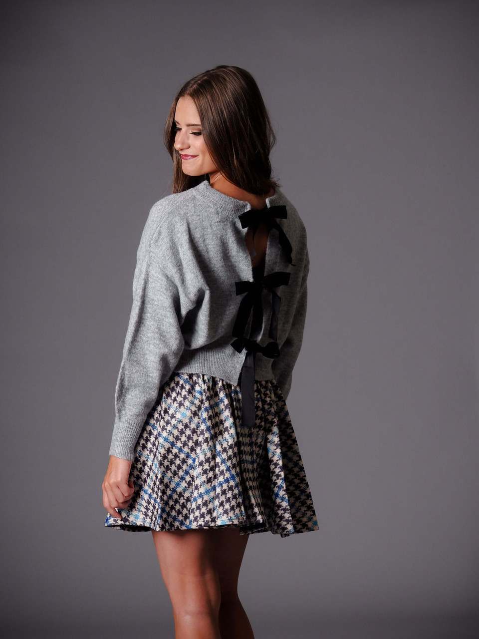 blue and gray plaid woven skirt