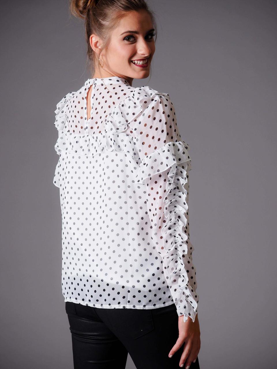 black and white polka dot ruffle blouse