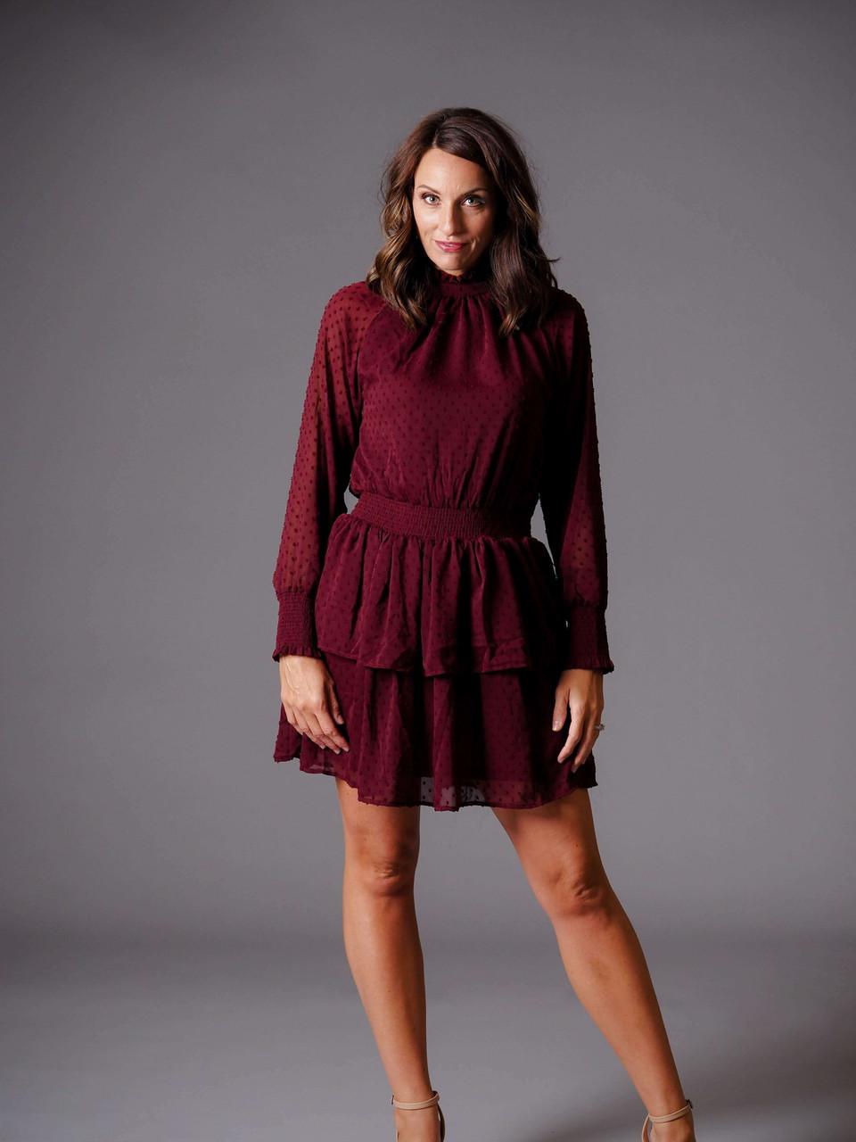 burgundy maroon smocked dress