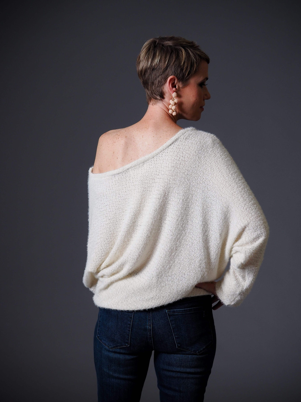 cream soft knit lightweight sweater