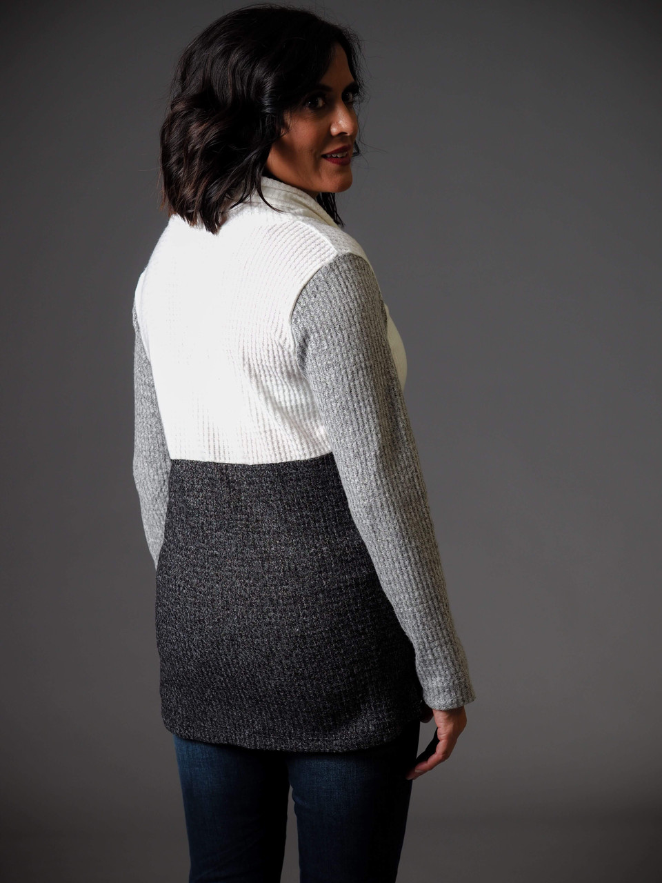 grey charcoal and white soft knit cowl neck sweater