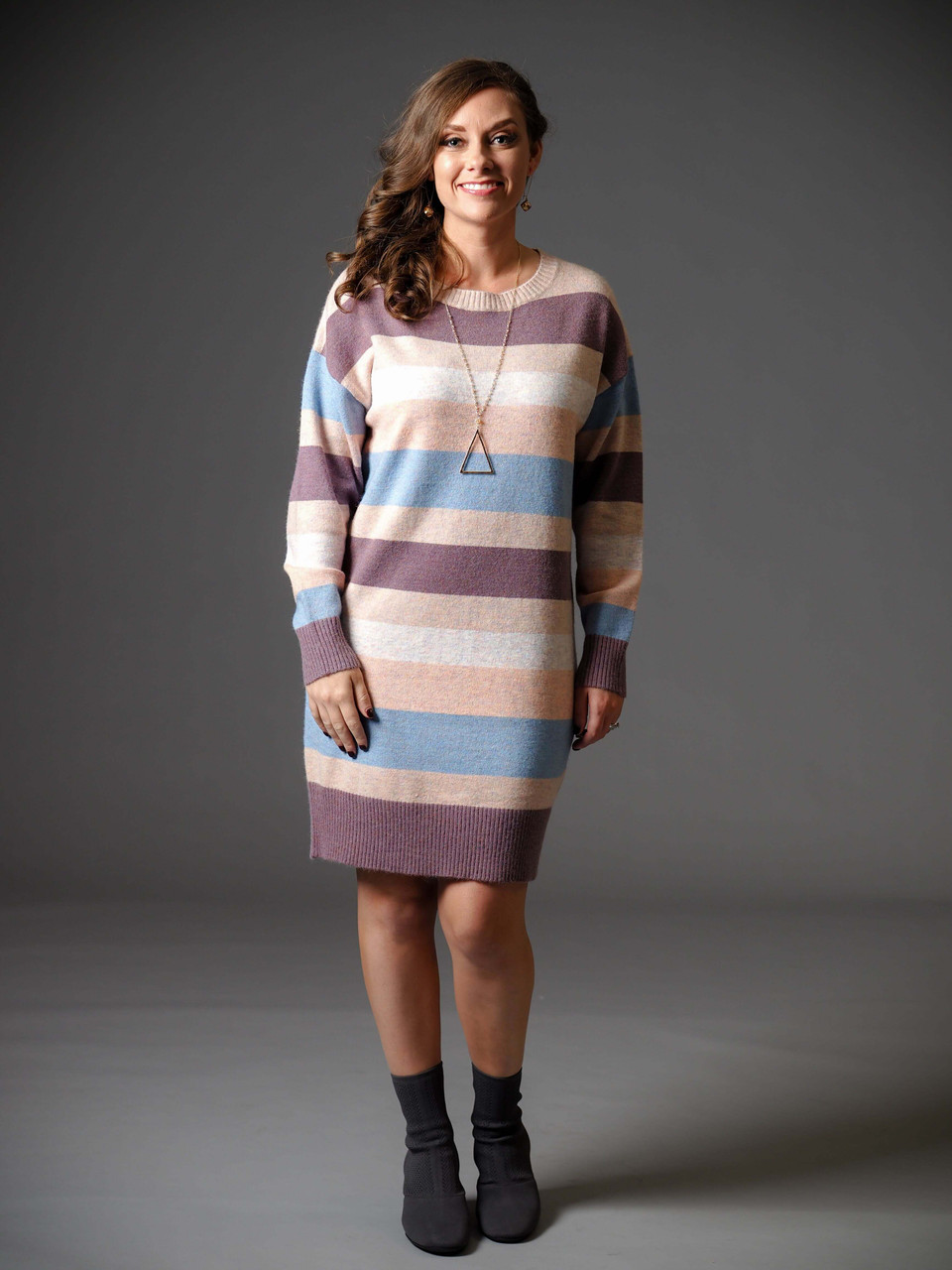 plum beige peach cream striped crew neck sweater dress