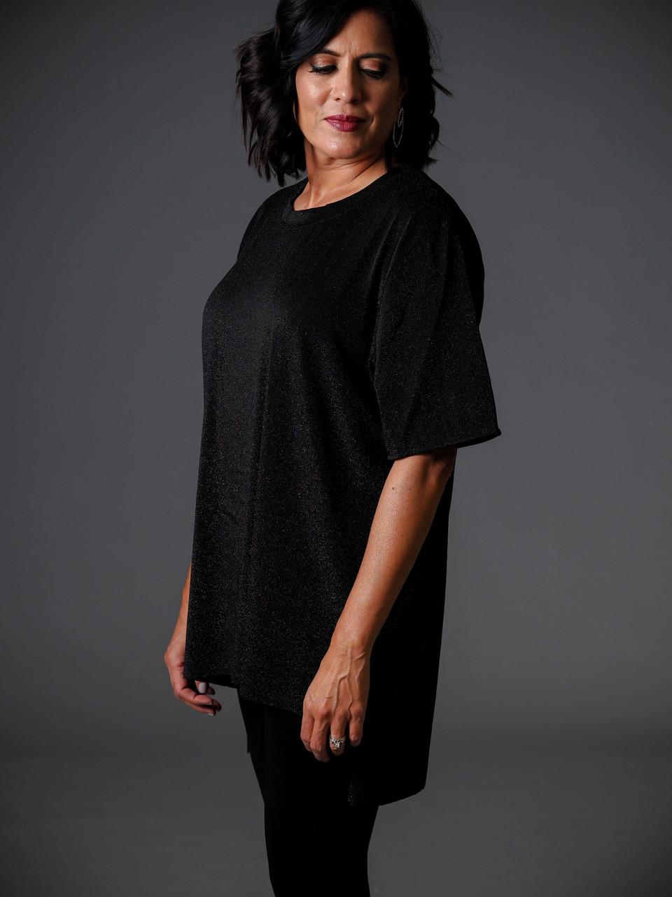 shimmered metallic black high low tunic