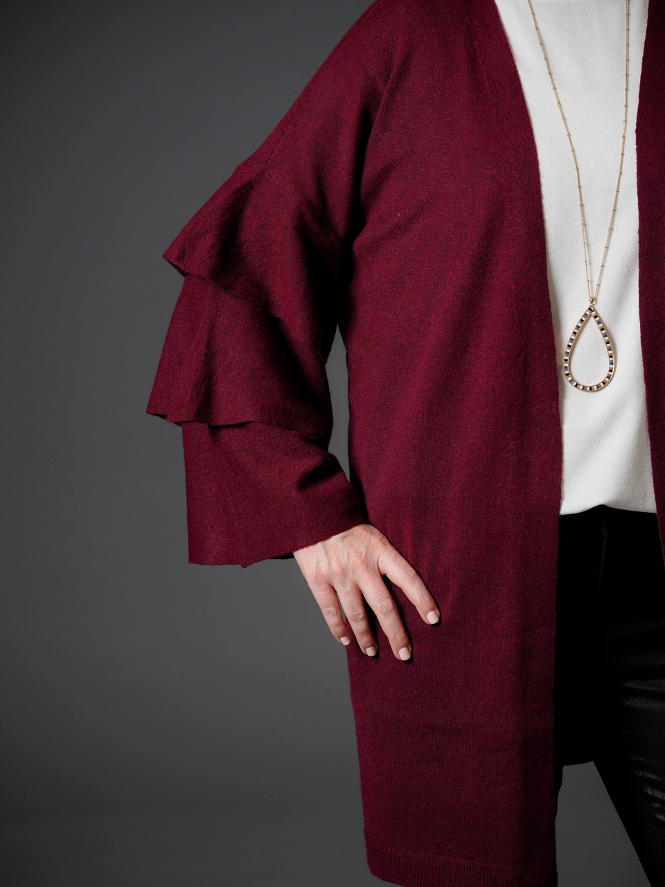 burgundy three tiered ruffle sleeve cardigan