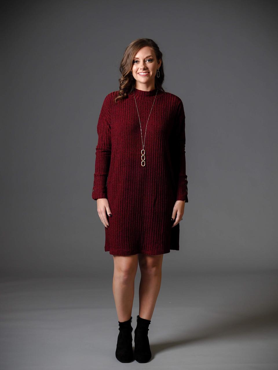 burgundy and black heathered tunic dress