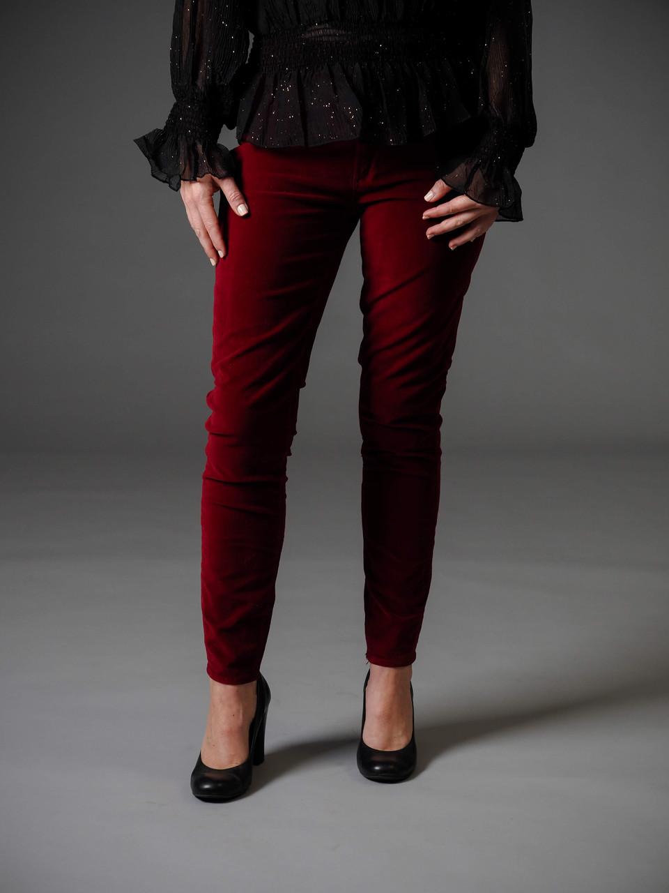 burgundy velvet high rise jean