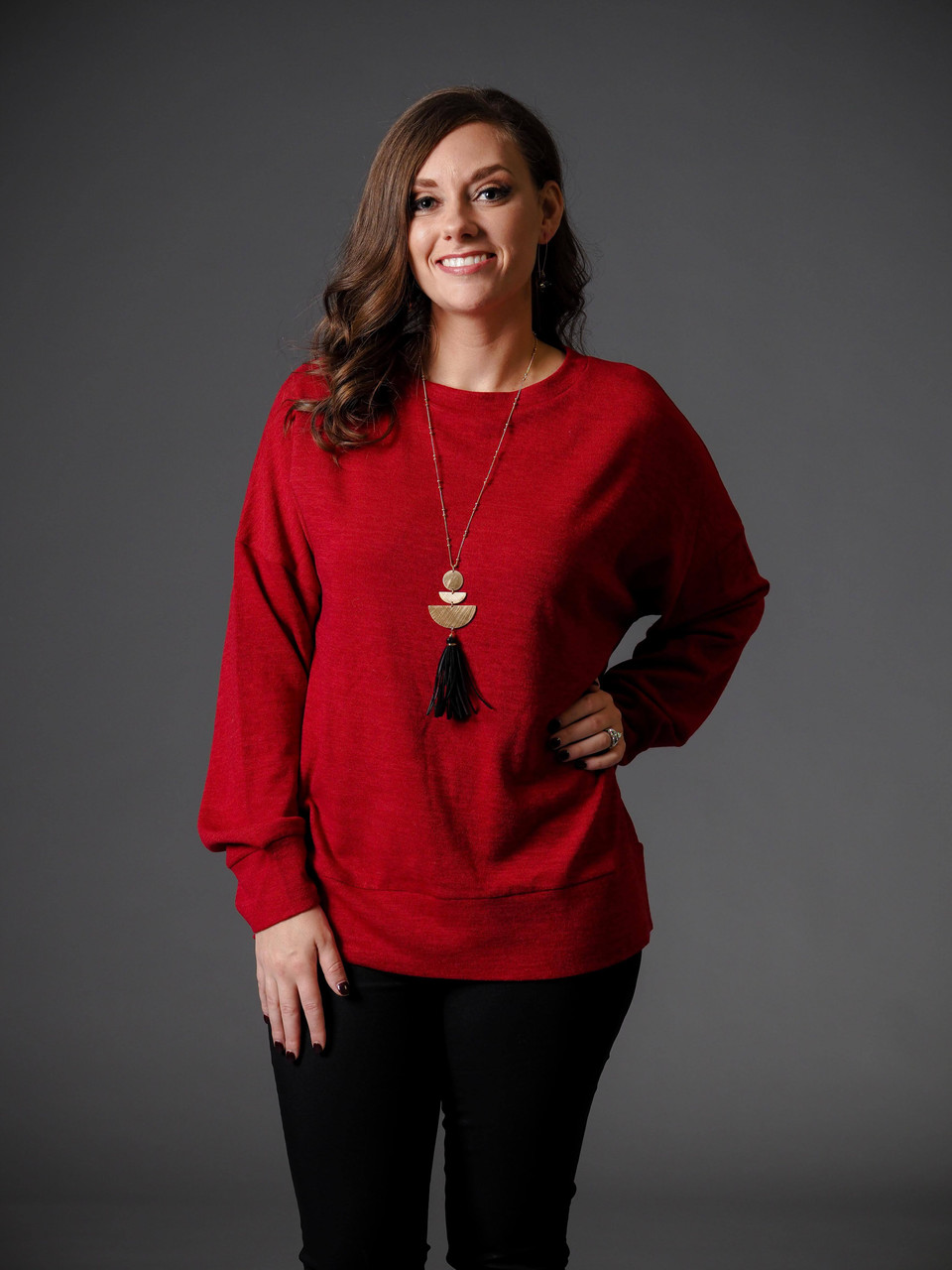 lightweight red pullover sweater