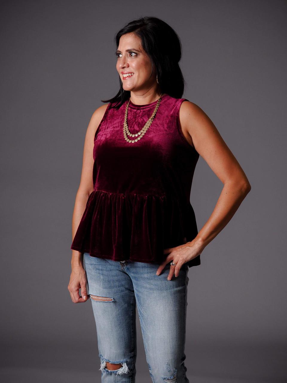 burgundy velvet peplum waist top