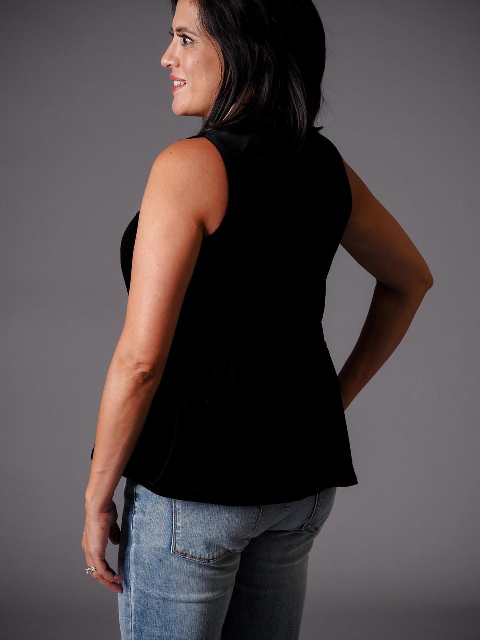 black velvet peplum waist top